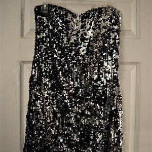 As U Wish Black & Silver Sequin Dress XL